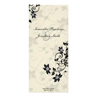 Wedding Program - Elegant Black & Ivory Floral Full Colour Rack Card