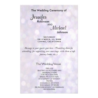 Wedding Program | Elegant Bokeh Lights 14 Cm X 21.5 Cm Flyer