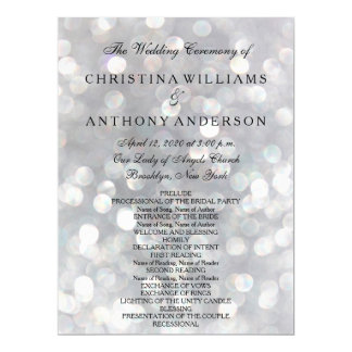 Wedding Program Elegant Silver Bokeh Lights