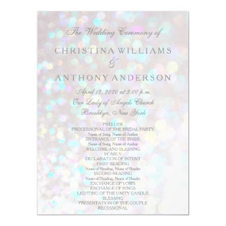 Wedding Program Elegant Silver Bokeh Lights 17 Cm X 22 Cm Invitation Card