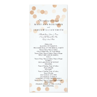 Wedding Program Faux Copper Foil Glitter Lights