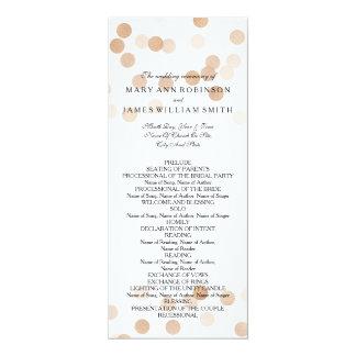 Wedding Program Faux Copper Foil Glitter Lights 10 Cm X 24 Cm Invitation Card