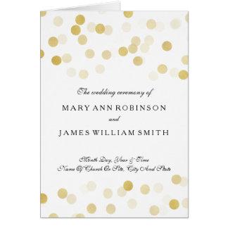 Wedding Program Faux Gold Foil Glitter Lights Card