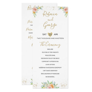 Wedding program floral blush and gold elegant