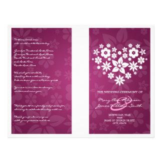 Wedding Program Flowery Heart Berry Pink 21.5 Cm X 28 Cm Flyer