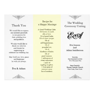 Wedding Program Folder Beige Gray 21.5 Cm X 28 Cm Flyer