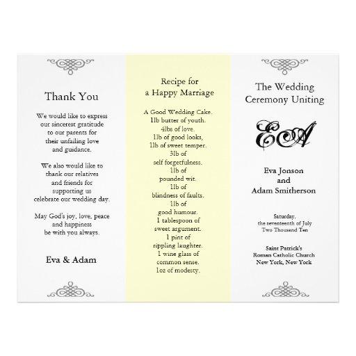 Wedding Program Folder Beige Gray Flyer