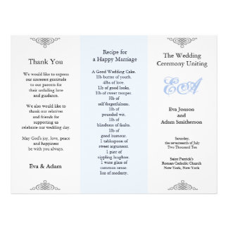 Wedding Program Folder Blue Gray 21.5 Cm X 28 Cm Flyer