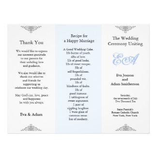 Wedding Program Folder Blue Gray 21.5 Cm X 28 Cm Flyer