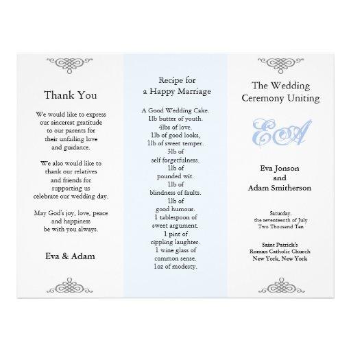 Wedding Program Folder Blue Gray Personalized Flyer