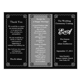 Wedding Program Folder Classic Black 21.5 Cm X 28 Cm Flyer