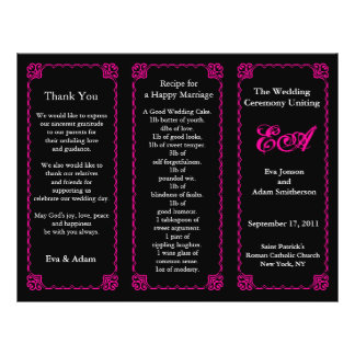 Wedding Program Folder Classic Pink Frame 21.5 Cm X 28 Cm Flyer