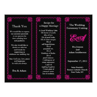 Wedding Program Folder Classic Pink Frame Full Color Flyer
