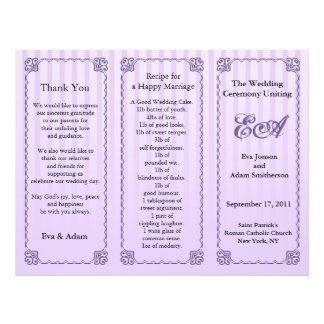 Wedding Program Folder Classic Purple Stripe Flyer Design