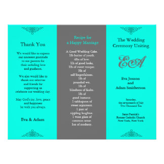 Wedding Program Folder Classic Teal Grey 21.5 Cm X 28 Cm Flyer