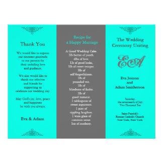 Wedding Program Folder Classic Teal Grey Custom Flyer