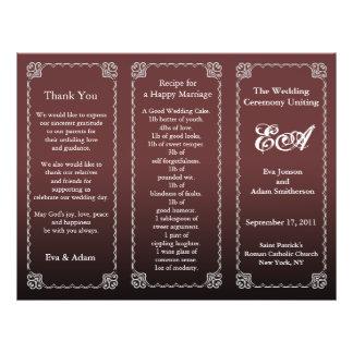 Wedding Program Folder Dark Chocolate Flyer Design
