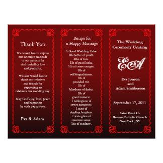 Wedding Program Folder Dark Red Personalized Flyer