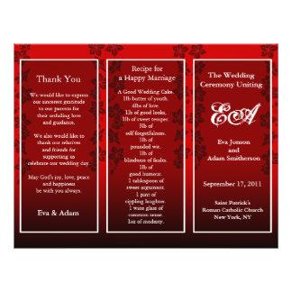 Wedding Program Folder Floral Red 21.5 Cm X 28 Cm Flyer