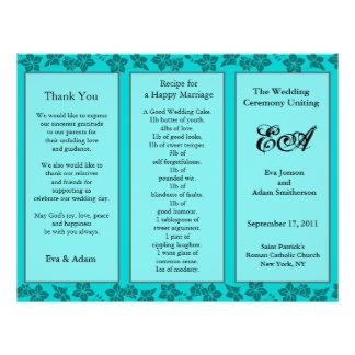Wedding Program Folder Floral Teal Flyer