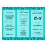 Wedding Program Folder Floral Teal Flyers