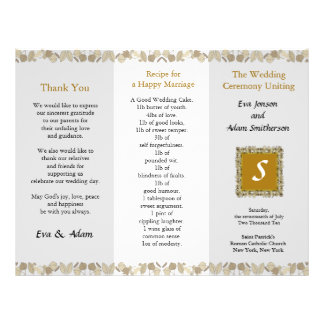 Wedding Program Folder Gold Leaf 21.5 Cm X 28 Cm Flyer