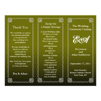 Wedding Program Folder Olive Green 21.5 Cm X 28 Cm Flyer