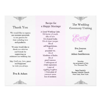 Wedding Program Folder Pink Gray 21.5 Cm X 28 Cm Flyer