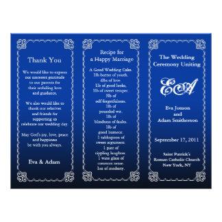 Wedding Program Folder Royal Blue 21.5 Cm X 28 Cm Flyer