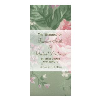 Wedding Program for Green and Pink Rose Wedding Rack Card