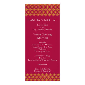 Wedding Program Gold and Red Customized Rack Card