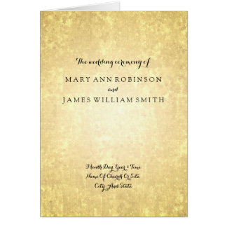 Wedding Program Gold Foil Look Stars Confetti