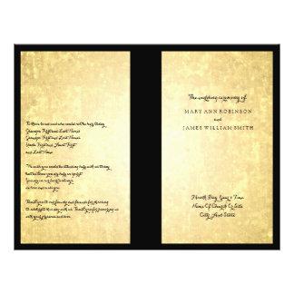 Wedding Program Gold Foil Look Stars Confetti 21.5 Cm X 28 Cm Flyer