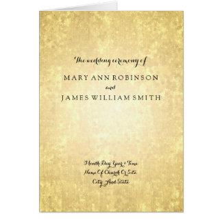 Wedding Program Gold Foil Look Stars Confetti Card