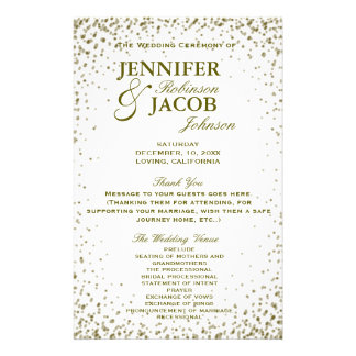 Wedding Program | Gold Glitter Confetti Flyer