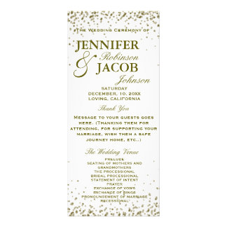 Wedding Program | Gold Glitter Confetti Rack Card