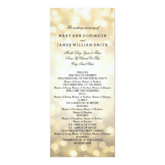Wedding Program Gold Glitter Lights