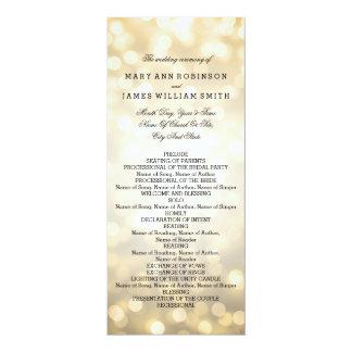 Wedding Program Gold Glitter Lights 10 Cm X 24 Cm Invitation Card