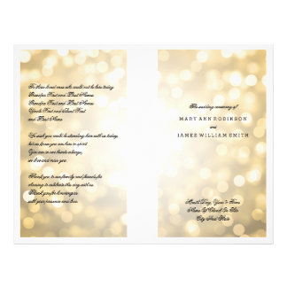 Wedding Program Gold Glitter Lights 21.5 Cm X 28 Cm Flyer