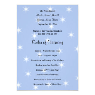 Wedding Program in Light Blue with White Stars. 13 Cm X 18 Cm Invitation Card