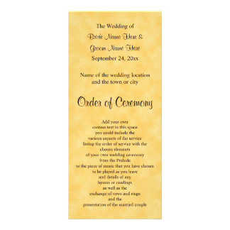 Wedding Program in Yellow and Black. Rack Card