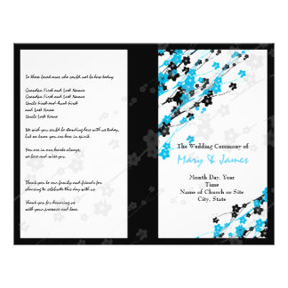 Wedding Program  Japanese Flowers Blue 21.5 Cm X 28 Cm Flyer