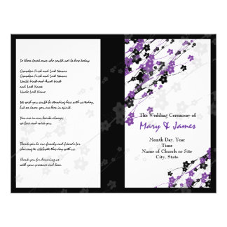 Wedding Program  Japanese Flowers Purple 21.5 Cm X 28 Cm Flyer