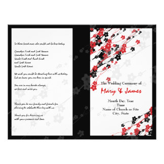 Wedding Program  Japanese Flowers Red 21.5 Cm X 28 Cm Flyer
