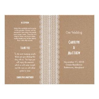 Wedding Program | Kraft Paper And Lace 2 21.5 Cm X 28 Cm Flyer