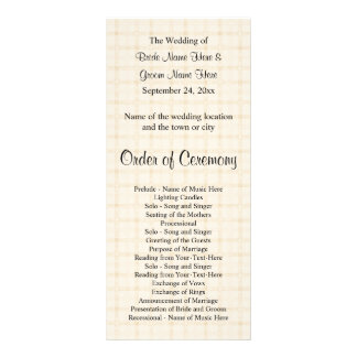 Wedding Program. Light Beige Check and Black Text. Rack Card