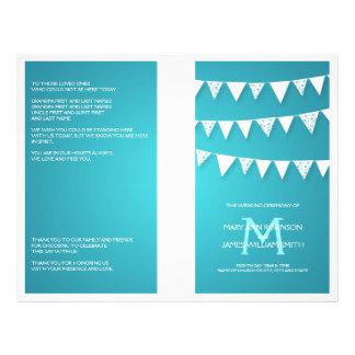 Wedding Program Love Bunting Monogram Turquoise 21.5 Cm X 28 Cm Flyer