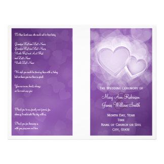 Wedding Program Modern Hearts Purple 21.5 Cm X 28 Cm Flyer