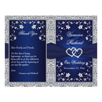 Wedding Program | Navy, Silver Floral, Hearts 21.5 Cm X 28 Cm Flyer