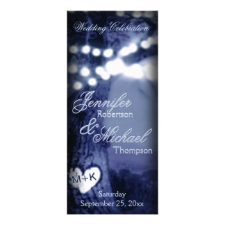Wedding Program | Night Tree w/Party Lights Rack Card Design